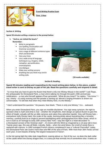 Non-Fiction: Travel Writing Practise: Reading and Writing