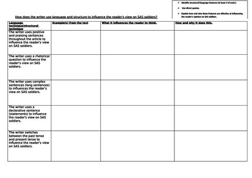 GCSE English Edexcel 9-1 paper 2 Language and structure question.