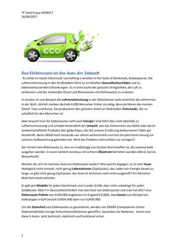 A2 German Umwelt - das Elektroauto