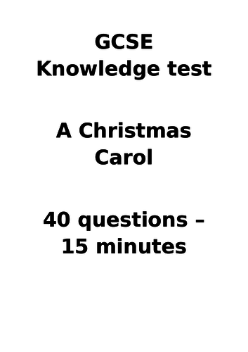 GCSE Knowledge Test - A Christmas Carol