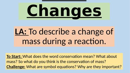 KS4 AQA C1 C4.1 Mass Changes and Uncertainty