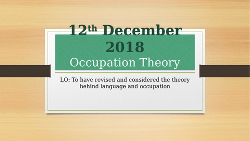 AQA English Language A-Level - Language and Occupation Theory