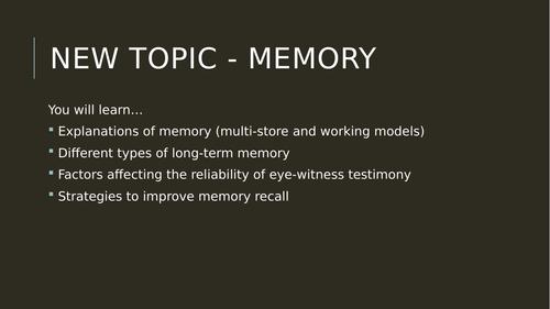 Multi-Store Model of Memory - FOUR LESSONS