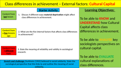 External factors affecting class achievement: Cultural capital