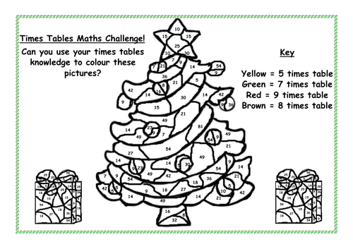 Remarkable Christmas Times Tables Colouring Sheet By Live Your Dreams Interior Design Ideas Inamawefileorg