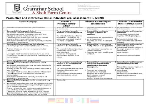 IB Language B - Internal Assessment Oral criteria - Student Friendly -2020 Spec