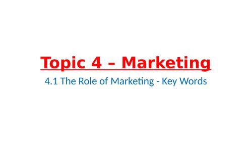 IB Business Management – Unit 4 Marketing – 4.1 The Role of Marketing