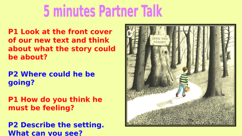 Into The Forest two week planning with teaching slides and differentiated worksheets