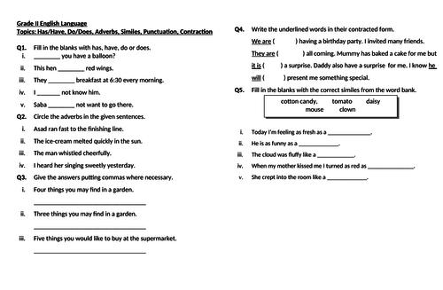 English Language Revision Worksheet