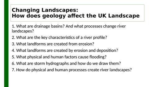 Edexcel A GCSE Topic 1B: River  landscapes knowledge organiser