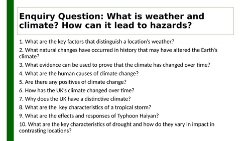 Edexcel A GCSE Topic 2: Weather knowledge organiser