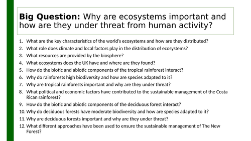 Edexcel A GCSE Topic 3: Ecosystem knowledge organiser