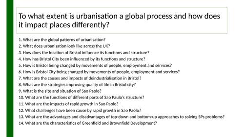 Edexcel A GCSE Topic 4: Cities knowledge organiser
