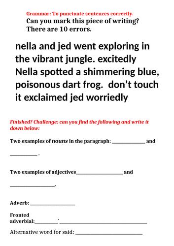 To punctate work correctly worksheet