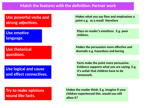 Persuasive techniques match with definition