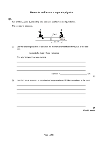 GCSE Physics Revision - Moments and levers