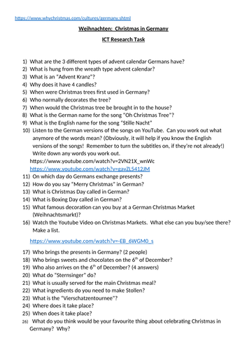 Christmas in Germany ICT Research Task