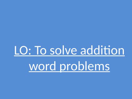 Column Method addition word problems Teaching slides