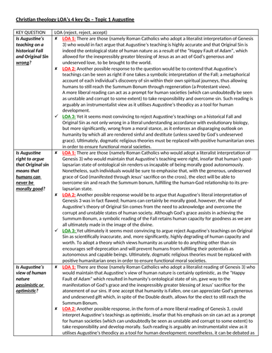 A level OCR Religious Studies 2018: COMPLETE CHRISTIAN THEOLOGY ESSAY PLANS