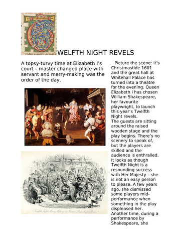 Twelfth Night Revels reading comprehension