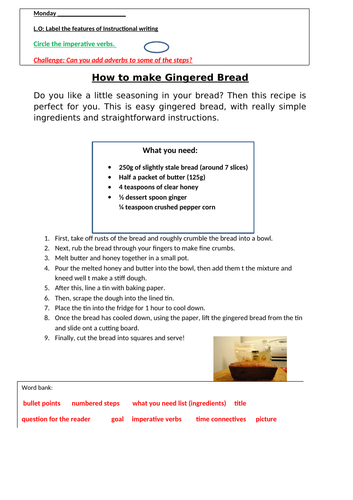 Label the features of a recipe worksheet
