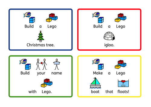 STEM Lego challenge cards, some Christmas themed. SEN/KS1