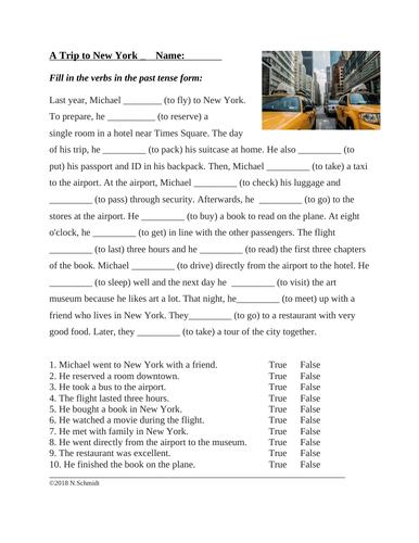 English Past Tense Worksheet: A Trip to New York (Travel ...