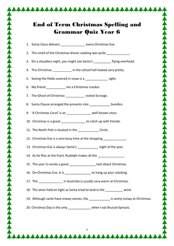 Year 6 Christmas Grammar, Spelling and Punctuation Quiz