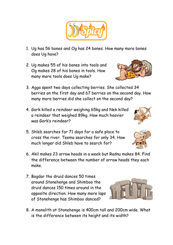Stone Age Word Problems - Find the Difference