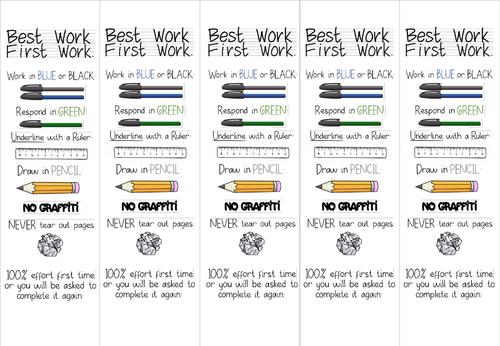 Best Work First Work Bookmark