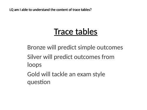 Edexcel Computer Science Paper 2 Trace Tables