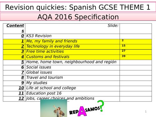 AQA Spanish GCSE Revision Quickies - ALL UNITS 1-12 - AT3/4
