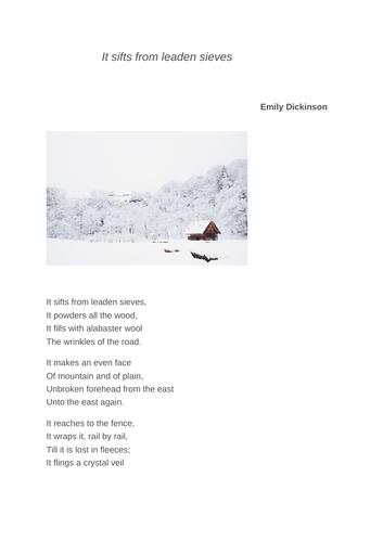 It sifts from leaden sieves poem