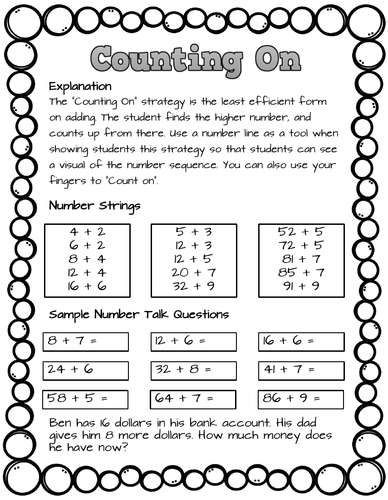 Mental Math Strategy Counting On Lesson Worksheet