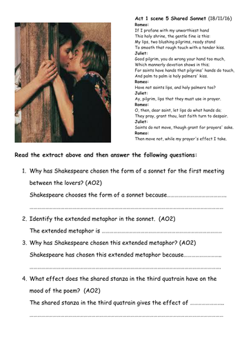 HOME LEARNING - GCSE - ACT 1 SCENE 5 ROMEO AND JULIET SHARED SONNET - GCSE DIFFERENTIATED WORKBOOK
