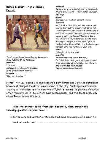 HOME LEARNING - GCSE- ACT 3 SCENE 1 ROMEO & JULIET DIFFERENTIATED WORKBOOK (HAPS AND LAPS)