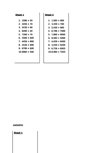 add numbers mentally with increasingly large numbers - worksheets and challenges - Y5