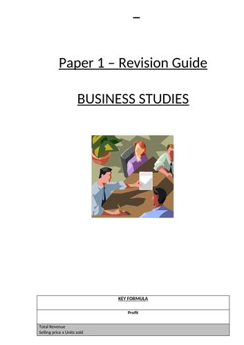 Eduqas As/A Level Business Studies Component 1a Revision Guide