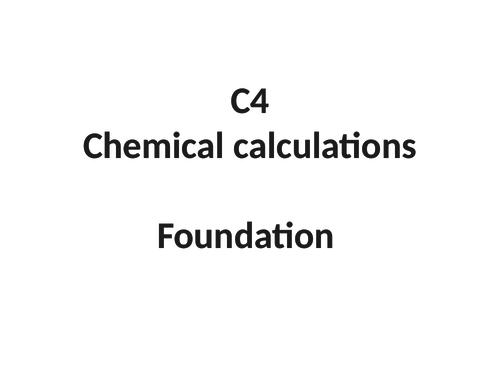 GCSE chemistry  revision - Moles and calculation C4