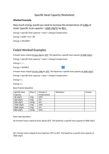 Specific Heat Capacity Low Ability Faded Worked Examples Worksheet