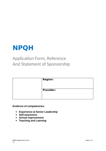 NPQH 2018 Successful Completed Assessment Application Example