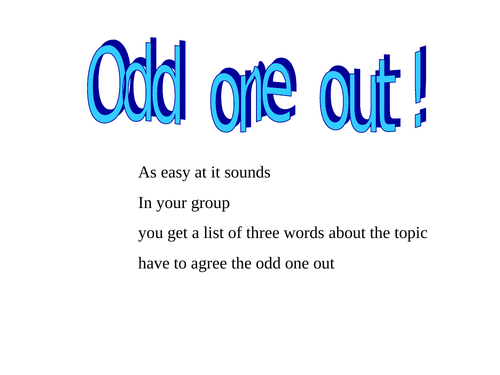 GCSE chemistry/science  Odd one out simple starter/plenary for each topic