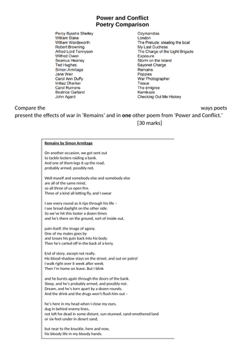 AQA GCSE English Literature poetry assessment using 'Remains'