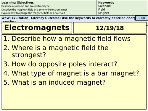 Electromagnets Revision Lesson - AQA foundation/mid-ability