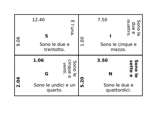 Ora (Time in Italian) 4 by 4