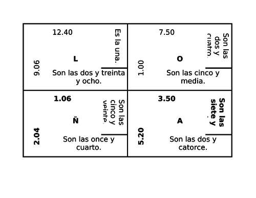 Hora (Time in Spanish) 4 by 4