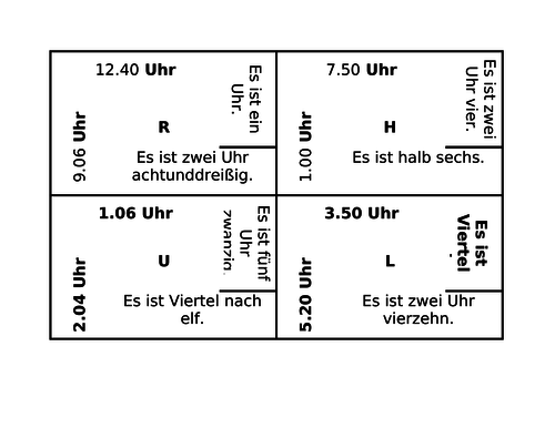 Uhrzeit (Time in German) 4 by 4