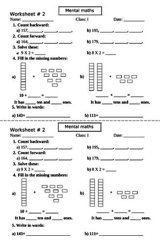 WORKSHEET TENS AND ONES BACKWARD AND FORWARD COUNTING