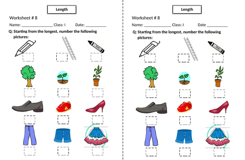 Longest and Smallest Worksheets