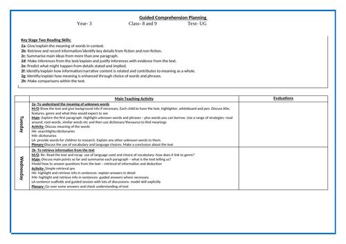 Year 3 - Comprehension - Weeks unit based on UG (Stone Age)